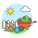 can, equipement, fertilizer, gardening, nature, plants, pot, shovel, soil, watering, wheelbarrow icon