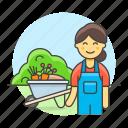 farm, female, garden, gardener, gardening, grass, lawn, lawnmower, machine, nature, tools icon