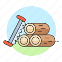 deforestation, equipment, gardening, harvesting, logs, lumber, nature, saw, timber, tools, tree icon