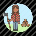 axe, equipment, female, gardening, harvesting, lumber, lumberjack, nature, tools, tree icon