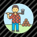 axe, equipment, gardening, harvesting, lumber, lumberjack, male, nature, tools, tree icon