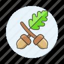 acorn, flowers, leaf, nature, nuts, plants icon