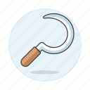 agriculture, equipment, farm, hand, nature, ranch, scythe, sickle icon