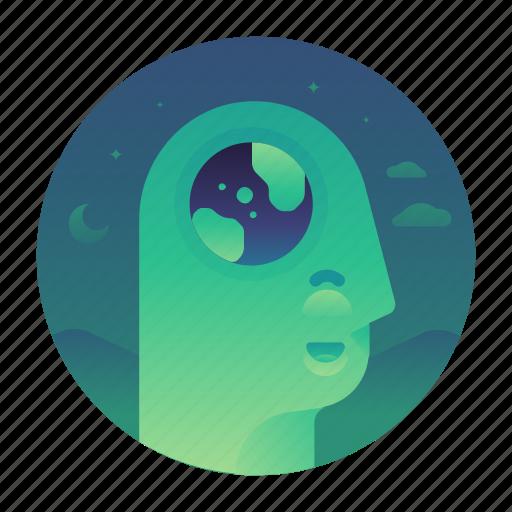 ecology, globe, planet, thought icon