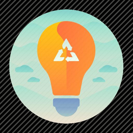 ecology, energy, lightbulb, recycle icon