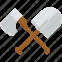 axe, pioneer, shovel, tools, work