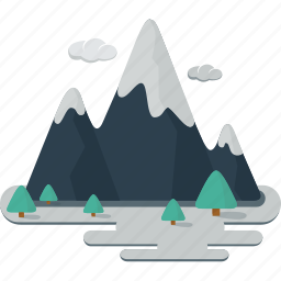 clouds, landscape, mountain, mountains, nature, pin trees, snow, trees, wild icon