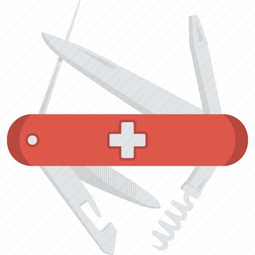 blade, can-opener, chiv, corkscrew, file, knife, screwdriver, swiss, swiss army knife, swiss knife, tin-opener icon