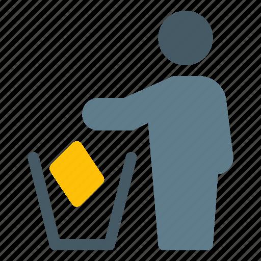bin, clean, dust, environmental, litter, man, trash icon