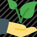 conservation, hand, leaf, leaves, plant, stem, tree icon