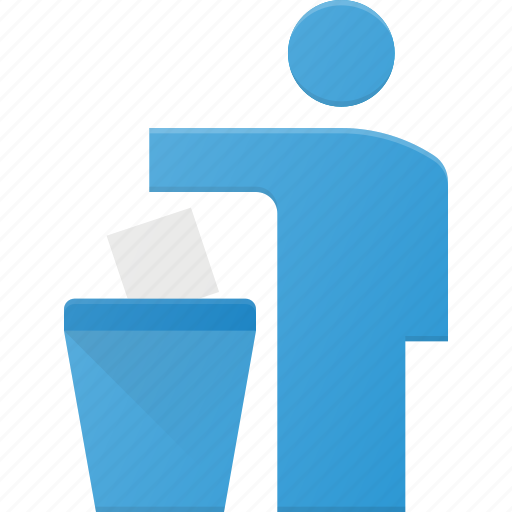 can, litter, person, trash icon