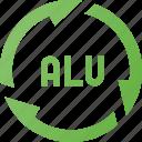 alu, aluminium, recycle, renew, waste icon