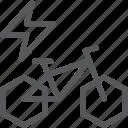 bike, cycling, eco, electric, energy, nature, thunderbolt, transport icon