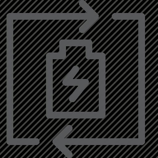 arrow, battery, ecology, energy, nature, recharge, renew, reuse icon