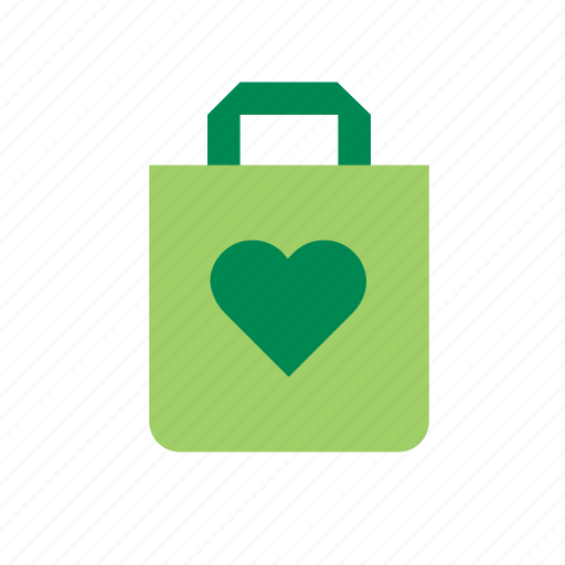 bag, eco, ecology, environment, green, heart, nature icon