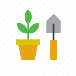 garden, gardening, nature, plant, pot, shovel icon