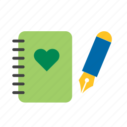eco, ecology, environment, green, heart, nature, notebook icon