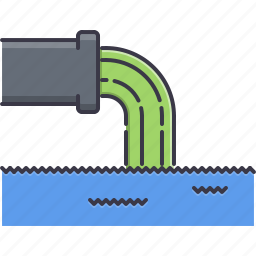 eco, ecology, nature, pipe, pollution, waste, water icon