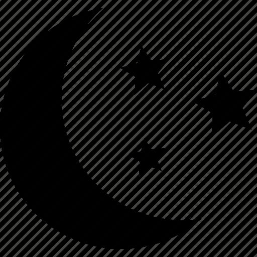 crescent, evening, moon, night, nighttime, stars, time icon