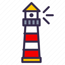 light, lighthouse, nautical, ocean, sea, shore icon