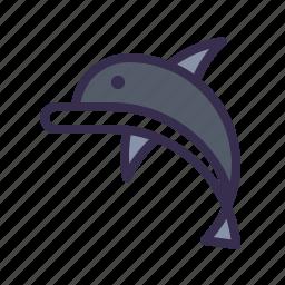 animal, dolphin, jump, nautical, ocean, sea icon