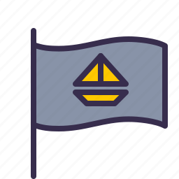 boat, flag, nautical, ocean, pirate, sea, ship icon