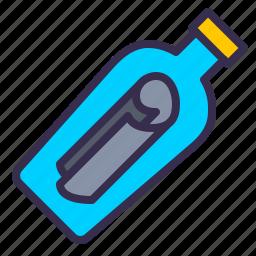 bottle, message, nautical, ocean, paper, sea icon