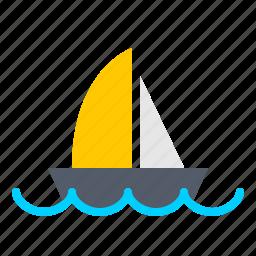 boat, nautical, ocean, sail, sea, water icon