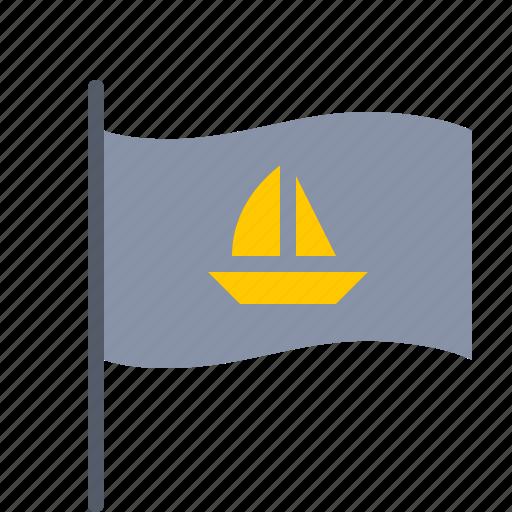 boat, captain, flag, nautical, sail, ship icon