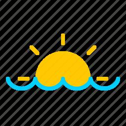 nautical, ocean, sun, sunrise, sunset, water icon