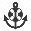anchor, life ring, nautical, sea, stop icon
