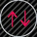 activity, arrows, down, internet, menu, up icon