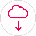 arrow, cloud, dowan, download, menu icon