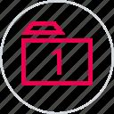archive, folder, menu, number, one, safe icon