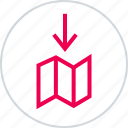 arrow, directions, down, download, locate, location, menu icon