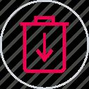 arrow, can, delete, down, menu, trash icon