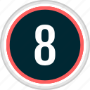 eight, menu, nav, navigation, number icon