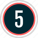 five, menu, nav, navigation, number icon