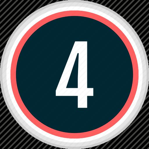 four, menu, nav, navigation, number icon