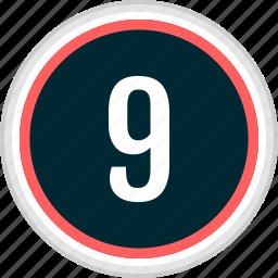 menu, nav, navigation, nine, number icon