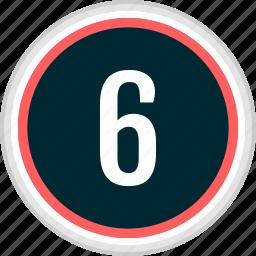 menu, nav, navigation, number, six icon