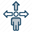 choose direction, direction choice, direction decision, road direction, three way intersection icon
