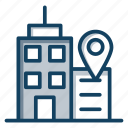 architecture, building location, hotel address, hotel location, store location icon