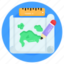 map making, edit map, map drawing, mapping, paper map icon