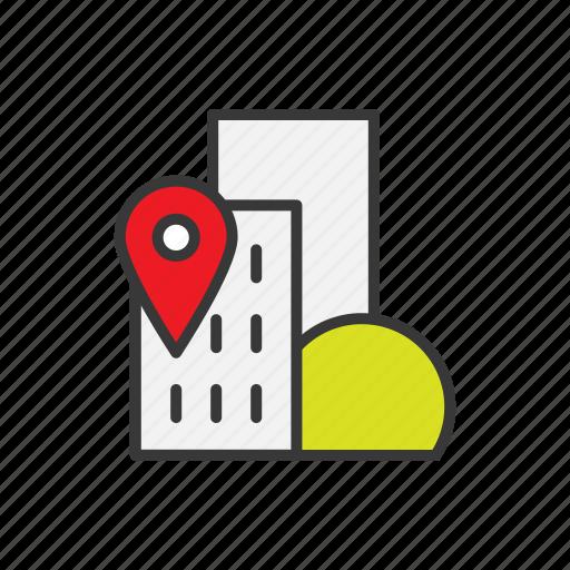 building, city, geo targeting, location, navigation icon