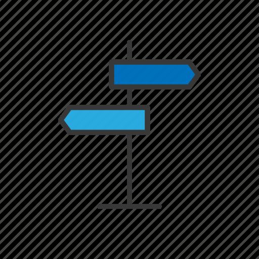 arrow, navigation, road, road sign, sign board icon