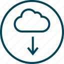 arrow, cloud, down, menu, navigation icon