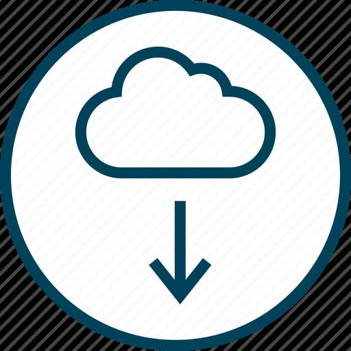 arrow, cloud, down, menu, navigation icon