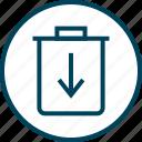 down, download, menu, navigation, trash icon