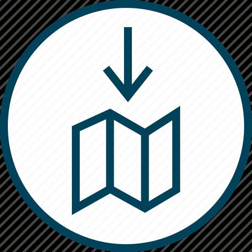 Arrow, down, map, menu, navigation icon - Download on Iconfinder